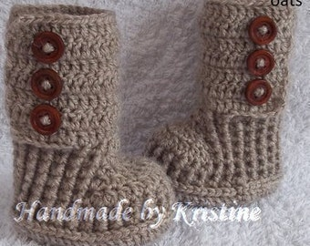 Crochet Baby Booties, Knitted Baby Shoes, Beige Boots for Baby, Newborn Boots, Crochet Baby Booties,newborn,0-3, 3-6 months old baby