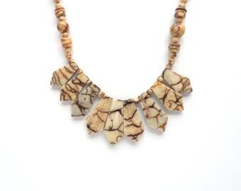 Tiger Coral Horn Bib Necklace. Sponge Coral. Reversible.