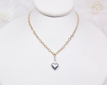 Silver Heart Necklace Gold Necklace Gold Chain Necklace 14k Gold Filled Chain Adjustable Necklace 14k Gold Filled Necklace BuyAny3+Get1 Free