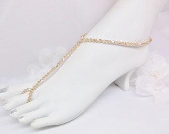 Solid 14kt Gold Barefoot Sandals Gold Topaz Anklet Crystal Anklet With Swarovski Element 14k Gold Filled Solid 14kt Gold BuyAny3+Get1 Free