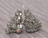 Pyrite Earrings, Natural Raw Stone Stud Earrings, Fools gold