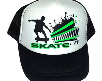 KID'S TODDLER Skate Black Skateboard Skateboarding Mesh Trucker Hat Cap