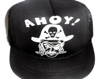 Black Ahoy Pirate Infant Baby Mesh Trucker Hat Cap Newborn Snapback