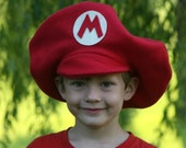 Super Mario Brothers Inspired-Child's Fleece MARIO Hat - Dress Up - Dramatic Play