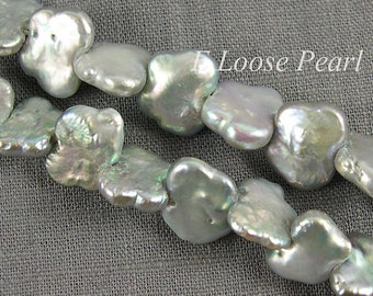 Freshwater pearl Butterfly Shape Gray loose pearl 10-12mm X 14-15mm 40pcs Full Strand Item No : PL4052