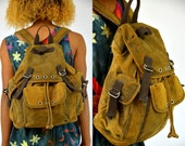 Vintage 90s Brown Leather Bohemian Distressed Backpack Daypack