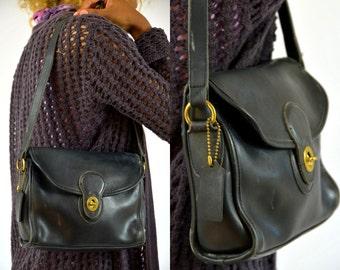 Vintage Coach Classic Black Leather Handbag Purse