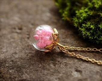 Pink Wildflower Pendant, Miniature Terrarium Necklace, Vial Necklace, Real Flower Necklace, Nature Jewelry,Gold Plated Dainty Necklace
