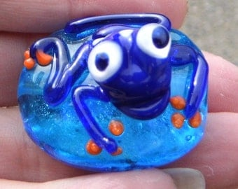 Lampwork  Turlte Bead - Hand Made Glass Sea Turtle, Glass Turtle Focal Bead SRAJD FHFTeam