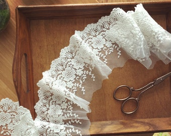 Lace Fabric Trim with Cotton Floral Embroidery , 2 yards