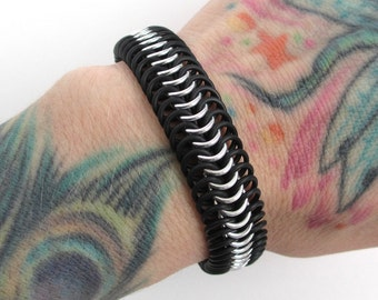 Silver and black bracelet for men or women, stretchy chainmaille bracelet, Euro 6 in 1 weave, rubber bracelet