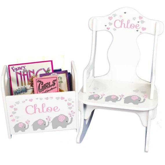 Personalized Elephant Rocking Chair & Book Holder- Personalized baby gift basket set for Elephant themed nursery
