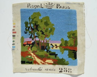 vintage french completed needlepoint of countryside stream and cottages from Elizabeth Rosen