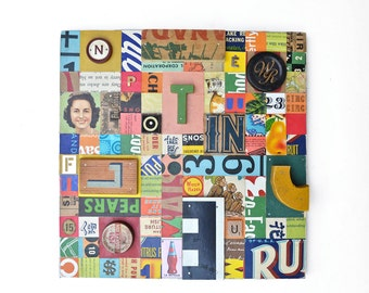 mixed media assemblage, typography, collage vintage letters, Just my Type, ORIGINAL ART by Elizabeth Rosen