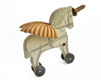 primitive unicorn, folk art unicorn, winged horse, mixed media assemblage art, by Elizabeth Rosen