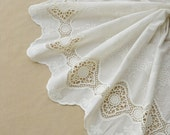 vintage style cotton lace fabric with hollowed out floral by the yard