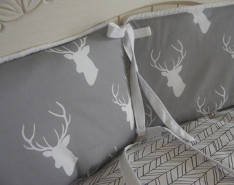 Baby Bedding Crib Quilt and Crib Skirt  Grey White Deer Four Piece Set
