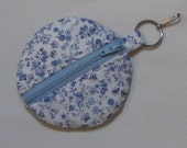 SALE! Dainty Blue and White Floral  Ear Bud Pouch