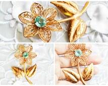Copper Flower ROOCH, Vintage Filigree, Blue Rhinestone, HALF OFF  S A L E, Item No. B037