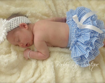 Beautiful Parley Ray Blue and White Gingham Ruffled Baby Bloomers / Diaper Cover / Photo Props Dorothy