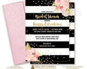 BLACK & WHITE BRIDAL Shower Invitation Pink Peonies Black Stripes Gold Glitter Confetti Printable Invite Rose Free Shipping or DiY- Krissy