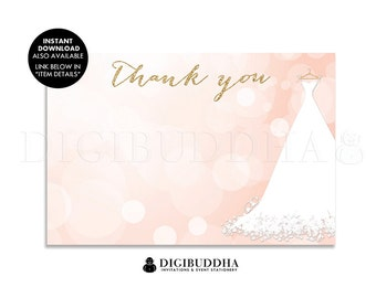 Bridal THANK YOU CARD Pink Bokeh Gold Glitter Flat Printed Note Card Wedding Dress Gown Bride To Be Bridal Shower Notecard Blank - Carly