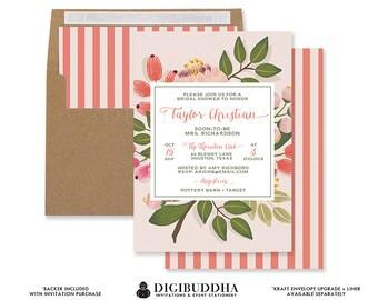 BOHO BLUSH PINK Flowers Bridal Shower Invitation Whimsical Coral Green Foliage Wedding Free Priority Shipping or DiY Printable- Taylor