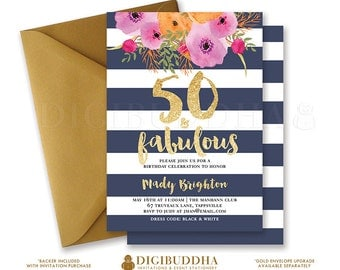 50 & FABULOUS BIRTHDAY INVITATION Navy and White Stripe Gold Glitter Modern Watercolor Flower Free Priority Shipping or DiY Printable- Mady