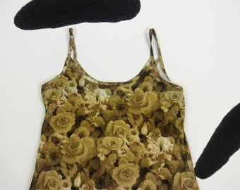 90s Photorealistic Sepia Graphic Rose Allover Spaghetti Strap Tank Mini Dress / Joule / Clueless / Sleeveless / Rave / Club Kid / Cyber /