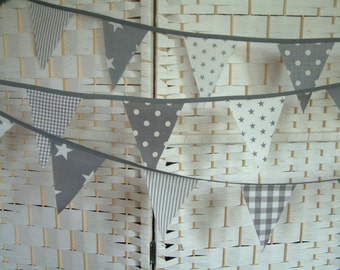 Mini-bunting. Grey (gray) & white fabric. Nursery banner. Sold by the metre. Modern, preppy, gender neutral.