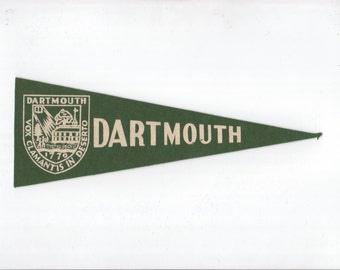 Vintage College Pennant DARTMOUTH University Green Small MINI Felt School Pennant Flag 1940s-1960s Dorm Collectible Sports Decor Man Cave