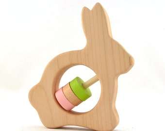 Personalized Rabbit Baby Rattle - Choose Your Own Colors - Wooden Baby Rattle