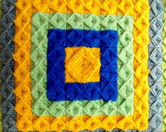 """Vintage 1960s Blue Green Yellow Crochet Throw Pillow 14"""" Square"""