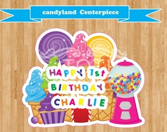 CandyLand Personalized Centerpiece  (Digital File Only)