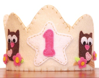 Owl Felt Crown, First Birthday, Choose Your Number
