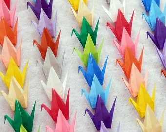 Origami Cranes - 100 Large Rainbow Color Origami Paper Cranes