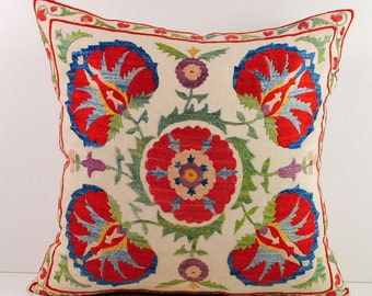 Hand Embroidered Uzbek Suzani Pillow Cover msp11-13