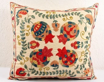 Hand Embroidered Uzbek Suzani Pillow Cover MSP102-2