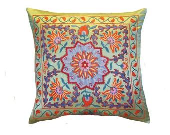 Handmade Suzani Silk Pillow Cover EMP737, Suzani Pillow, Uzbek Suzani, Suzani Throw, Suzani, Decorative pillows, Accent pillows