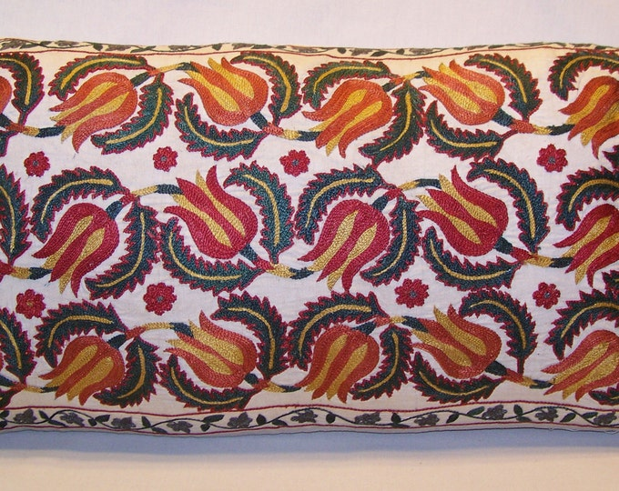 Handmade Suzani Pillow Cover MSP102, Suzani Pillow, Uzbek Suzani, Suzani Throw, Suzani, Decorative pillows, Accent pillows