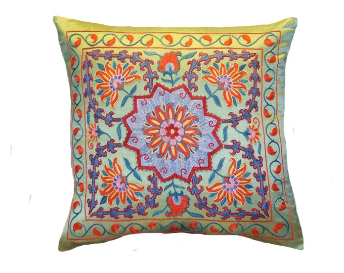 Handmade Suzani Silk Pillow Cover EMP737, Suzani Pillow, Uzbek Suzani, Suzani Throw, Suzani, Decorative pillows, Accent pillows