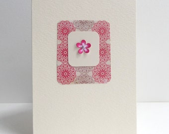 3D Flower Birthday Card - Deep Red & Brown - Luxury Card - Greetings Card - OOAK card - Any Occasion.