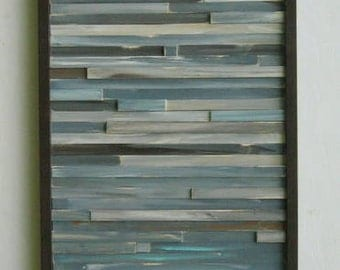 Distressed Reclaimed  Wood Wall Art Sculpture Modern Painting Rustic-Abstract  Blue