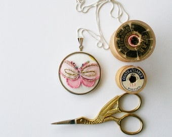 Butterfly necklace / hand embroidered pendant / pink and gold embroidery / silver necklace / gift ideas for women