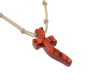 Men's Cross Necklace - Recycled Reclaimed Brazilian Tulipwood Religious Pendant