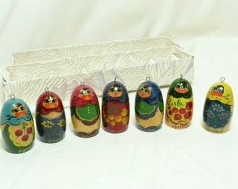 Vintage Russian Hand Painted Matreshka Doll Christmas Ornaments, set C