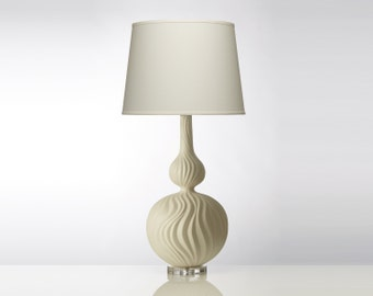 Cream Sculpted Table Lamp with White Shade