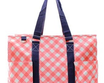 Monogrammed Canvas Utility Tote Coral Plaid Personalized