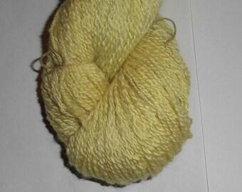 "Handspun 2 ply Fingering -  Hand Dyed - ""Primrose"" Soft Lustrous BFL Wool and Silk, Yellow Yarn, Yellow Wool Yarn, Wool Silk Fingering Yarn"
