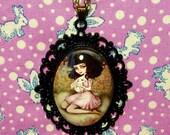 Cabochon Art Necklace - White Rabbit Alice in Wonderland Fairytale Girl Miniature Wearable Art Cameo Pendant
